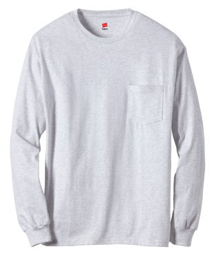 Hanes Tagless 6.1 oz Long-Sleeve with Pocket, Ash, - Hanes Store Outlet
