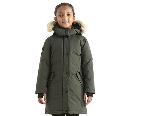 Triple F.A.T. Goose Alistair Girls Down Jacket Parka With Real Coyote Fur (8, Olive) by Triple F.A.T. Goose