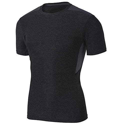 Top Training Short Sleeve (SUPERBODY Mens Athletic T-Shirts Running Tee Cool Dry Sport Short Sleeve Training Top_BD-Black_XXL)