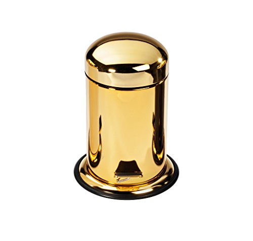 h Can, Stainless Steel Wastebasket W/Lid Cover (Polished Gold) ()
