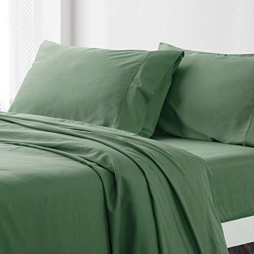 Bedsure Bamboo Bed Sheet Set Queen Size Olive Green 100% Bamboo Viscose Bed Linen in Gift Box