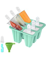 Popsicle Molds, Ice Pop Makers in 9 Cells BPA Free Reusable Ice Cream Mould Ice Lolly Mold with Stand Durable DIY Popsicle Tray Holders with Cleaning Brush and Silicone Funnel
