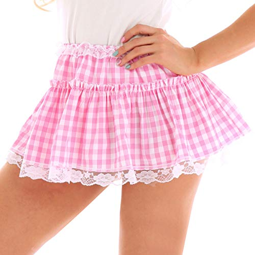 iiniim Women Anime Role Play Mini Plaid Lace Cosplay Skirt Sexy Schoolgirl Lingerie Pink X-Large ()