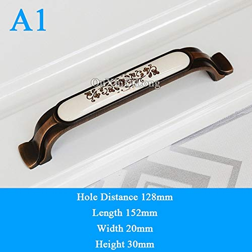 Retro Style 10PCS European Antique Ceramic Kitchen Cabinet Door Handles Cupboard Wardrobe Drawer Cabinet Pulls Handles and Knobs - (Color: A1)