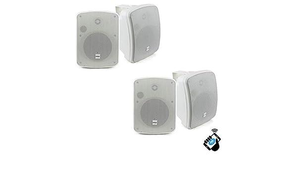 """2 Pair Pyle PDWR54BTW Bluetooth 600W Waterproof 5.25/"""" Powered Outdoor Speakers"""