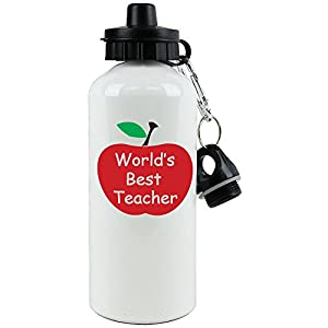 World's Best Teacher White Aluminum Water Bottle, 20-Ounce (600 ML) Sport Water Bottle with Sports Top, Carabiner