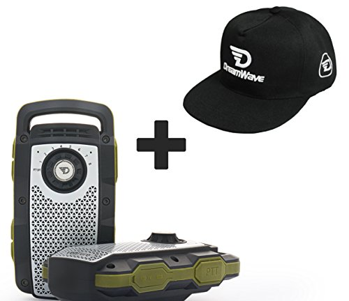 Transportable Sound System (TWO PACK - 2 WAY RADIO WALKIE TALKIE AND BLUETOOTH SPEAKER WITH HANDS FREE CALLING + BONUS DREAMWAVE BLACK SNAP BACK HAT)