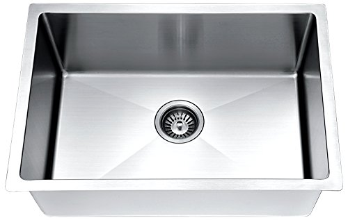 Daweier ESR240900 Hand Made Stainless Steel Undermount Small Radius Single Bowl Sink
