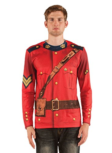 Adult Size Faux Real Long Sleeve Canadian Mountie T Shirt - - Mountie Costume