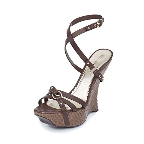 GIORGIO ARMANI Women Brown & Snake Embossed Leather Platform Wedge Sandals Shoes US 10 EU -