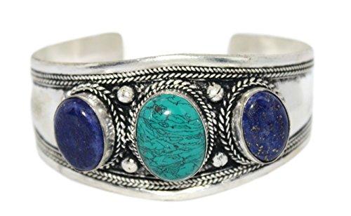 Lapis Turquoise Cuff Bracelet Tribal Bracelet Nepal Bracelet Boho Bracelet Gypsy Bracelet BB440