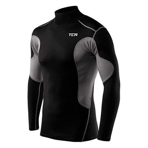 TCA Men's Boys SuperThermal Compression Shirt Base Layer Thermal Long Sleeve Mock Neck Top - Black/Gray Large Boy (10-12 Years)