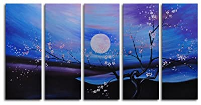 """Hand Painted Modern Oil Painting """"Moonlit pond"""" 5 Piece Canvas Art Set - Stretched with wooden frame"""