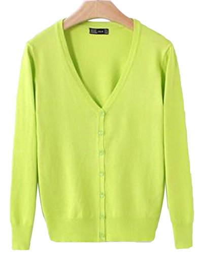 X&F Women's Solid V-Neck Long Sleeve Knitted Sweater Open Front Cardigan Tops 0, Yellow Green