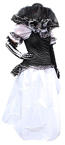 Trade MX Catrina Premium Women Dress Costume Made in Mexico (Medium, White) ()