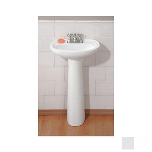 Cheviot 617-WH-4 White Fiore Pedestal Sink with 4'' Faucet Drilling by Cheviot