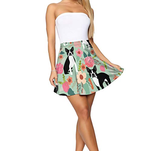(Boston Terrier Florals Women's Mini Skater Skirt Versatile Stretchy Short Skirt Party Costumes)
