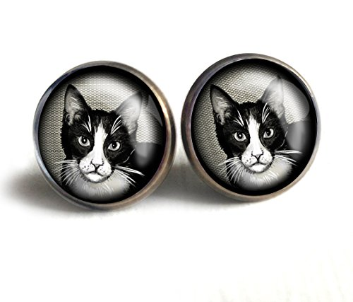 Black & White Glass Ring - Black and White Cat Stud Earrings