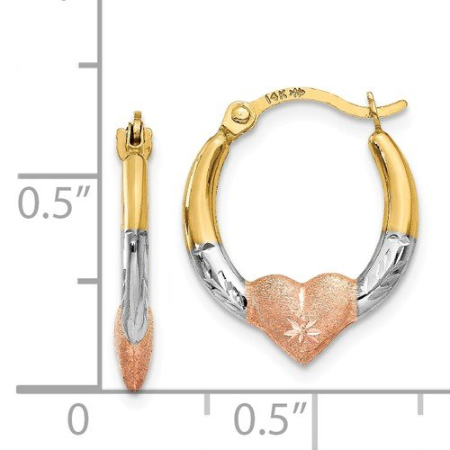 Girls 14K Yellow Gold with White and Rose Rhodium Heart Hoop Huggie Earrings for Women Mom