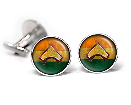 ustice League Tie Clip, Avengers Cuff Links, Aquaman Jewelry, Superhero Wedding Party Jewelry Gift ()