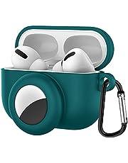 2-i-1 skyddande skinnskydd kompatibelt med Airpods Pro för Airtag anti-borttappade skyddande hörlurar fodral med bergsbestigningsspänne, robust, anti-drop hållbart silikonfodral