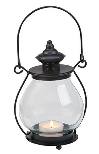 Biedermann & Sons Bubble Glass Lantern Candle Holder, Black (Garden Lanterns For Candles)