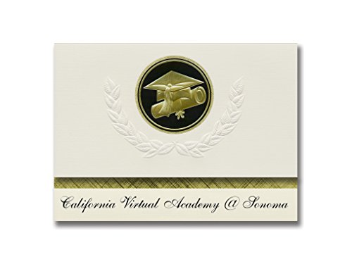 Signature Announcements California Virtual Academy @ Sonoma (Simi Valley, CA) Graduation Announcements, Presidential Elite Pack 25 Cap & Diploma Seal. Black & Gold.