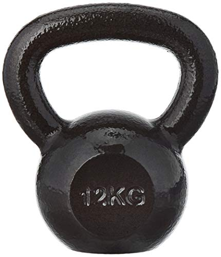 Amazonbasics Cast Iron Kettlebell (12 Kg), Black 2021 June Kettlebell supports a wide range of resistance-training exercises Made of solid high-quality cast iron for reliable built-to-last strength Painted surface for increased durability and corrosion protection