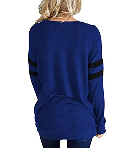 Striped Lunga shirt Casual Donna Blu Maglie Girocollo Top T a Manica PENGSSTYLE qI864F