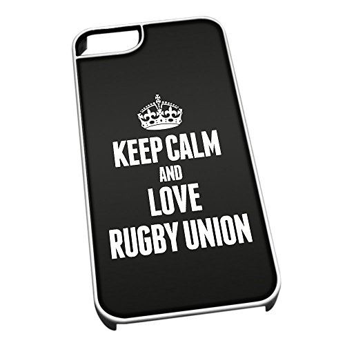 Bianco cover per iPhone 5/5S 1874 nero Keep Calm and Love Rugby Union