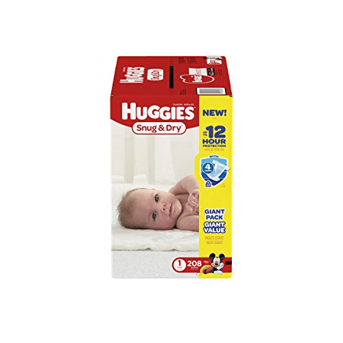HUGGIES Snug & Dry Diapers, Size 1, 208 Count