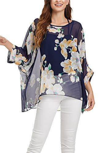 LeaLac Women's Bohemian Contemporary Style Batwing Sleeve Butterfly Printed Chiffon Shirt L276-4365