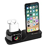 Apple Watch Statnd, Foxnovo 3 in 1 Silicone Charger Dock Station for Apple Watch Series 4/3/2/1/AirPods/iPhone X/iPhone 8/8 Plus/7 Plus/6S, Ideal Decoration for Study, Hall, Bedroom, Office Desk