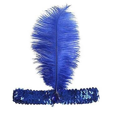 Sequined Show Girl Party Flapper Headband Headdress with Feather Plume Fhouses
