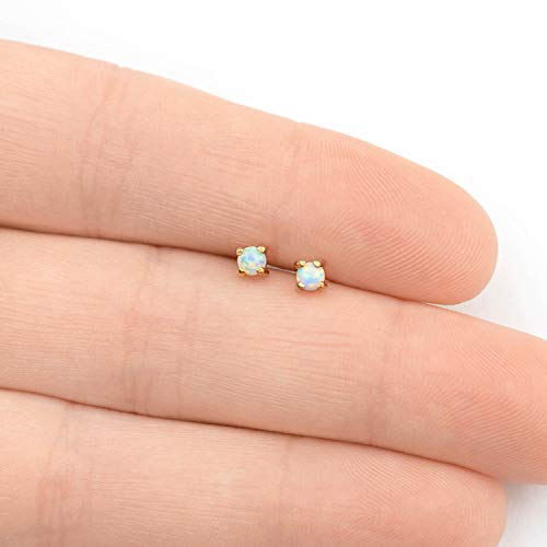 31d7d80e4 Stud Earrings Opal Studs - 14k Gold Dipped 3mm Tiny White Round Opals  Womens Stainless Steel