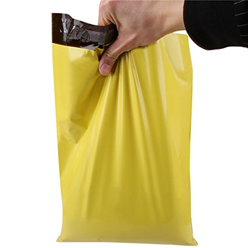 Yellow Postage Plastic Shipping Mailing Bags Self Seal Shipping Postal Packing Plastic Mail Bags Courier Envelopes Polybag (200 pack / 35x41+4cm (13.8x16.1+1.5 inch)) by BAT Pack
