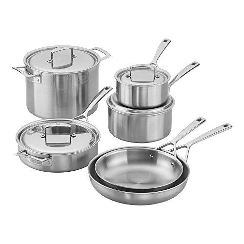 ZWILLING J.A. Henckels 66080-000 Aurora Cookware Set, 10-piece, Stainless Steel