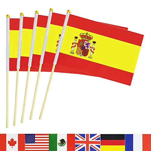 TSMD Spain Stick Flag, 50 Pack Hand Held Small Spanish National Flags On Stick,International World Country Stick Flags Banners,Party Decorations for World Cup,Sports Clubs,Festival Events Celebration]()