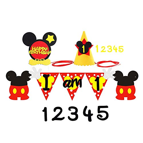 PANTIDE Mickey Birthday Party Supplies Party Decoration Kit, 1st Felt Garland Birthday Party Banner with Party Hat and Cake Topper, Mickey Inspired Decoration Supplies for 1-5 Year Old Kids ()