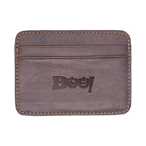Halloween Boo (Milk Chocolate) Engraved Synthetic Slim Wallet/Card Holder - Handcrafted By Mastercraftsmen - A Perfect Fit For The Minimalist Lifestyle - Sleek, Efficient ()