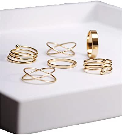 Cougar's Choice 6pcs Stack Rings Glod Plated Ring Knuckle Nail Ring Set