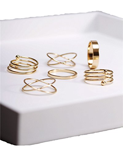 cs Stack Rings Glod Plated Ring Knuckle Nail Ring Set (Plated Thin Stack)