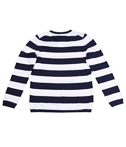 Tommy Hilfiger Damen Pullover mit V-Ausschnitt Dunkelblau-weiß NzWCIUj