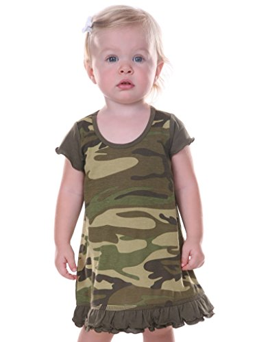 Kavio! Infants Girls Camouflage A-Line Short Sleeve Dress Camo Army Green 18M -