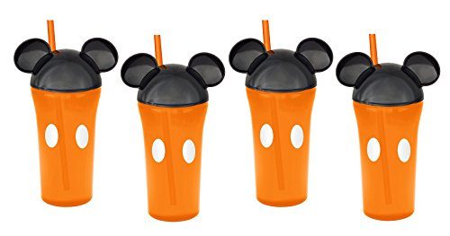 (Zak Designs 4-Pack Disney Mickey Mouse 13oz Travel Tumbler Orange Cups with Ear Lids & Straws)