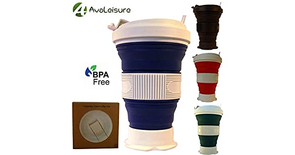 Set of 2 black+black Big Tea AvaLeisure 16oz Collapsible Travel Cup Foldable Silicone Mug with Leak-proof Lid for Coffee Water Hiking Mugs Portable Camping