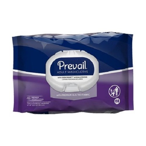Shield Incontinence Care Washcloths - Prevail Quilted Cleansing Wipes, 8 x 12 in., 48 ct