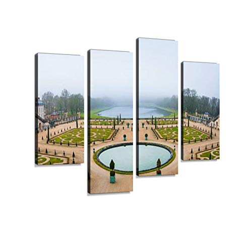 Gardens of Versailles Apollo Fountain Canvas Wall Art Hanging Paintings Modern Artwork Abstract Picture Prints Home Decoration Gift Unique Designed Framed 4 Panel (Wall Fountain Formal Garden)