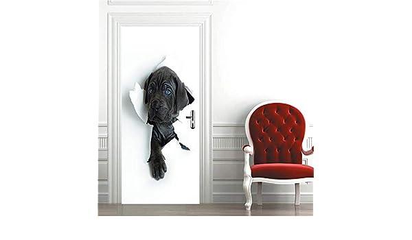 MOXILI Adhesivo Fotográfico Pegatina, Vinilos Decorativos para Puerta Pared Cocina Sala De Baño, (Perro Negro Golpea La Puerta De Papel) 90Cmx200Cm: Amazon.es: Hogar