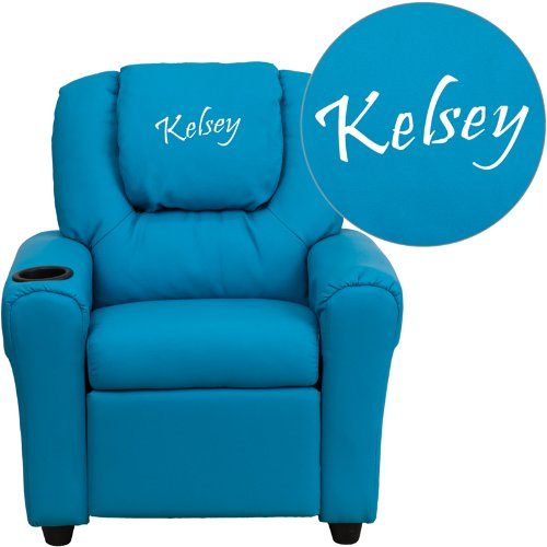 "Personalized Vinyl Kids Recliner With Cup Holder And Headrest Turquoise Green/36.5""L x 24""W x 27""H"